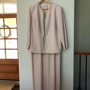Floor length, dusty rose dress with beading